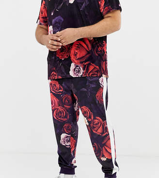 Asos DESIGN Plus two-piece skinny velour joggers in floral print with side stripe