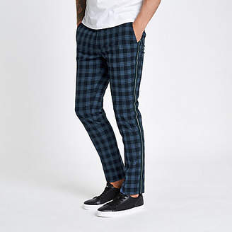 River Island Mens Navy check skinny fit tape trousers