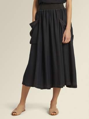 DKNY Ruched Waist Midi Skirt