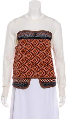 Toga Wool-Blend Long Sleeve Top