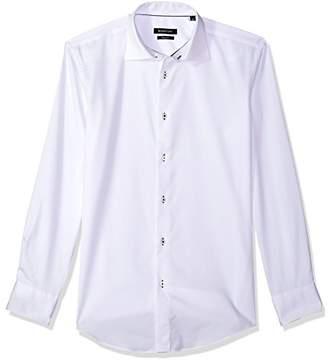 Bugatchi Men's Fitted Lightweight Tonal Jacquard Point Collar Dress Shirt