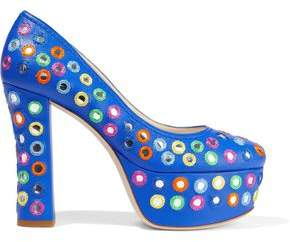 Moschino Embellished Leather Platform Pumps