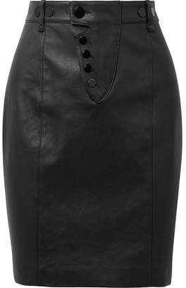 Alexander Wang Leather Mini Skirt - Black