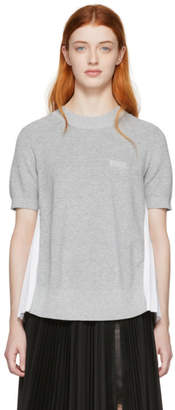 Sacai Grey and White Panelled Knit T-Shirt