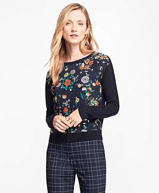 Mixed-Media Floral Crewneck Sweater $98 thestylecure.com