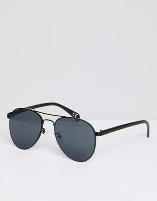 Asos DESIGN Aviator Sunglasses In Black Metal With Smoke Lens