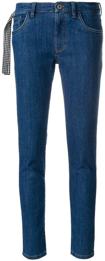 gingham tie jeans