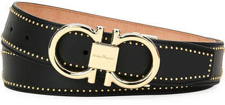Salvatore Ferragamo Men's Leather Belt with Studs