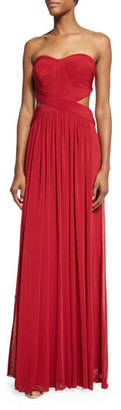 La Femme Strapless Pleated Cutout Gown, Deep Red $278 thestylecure.com
