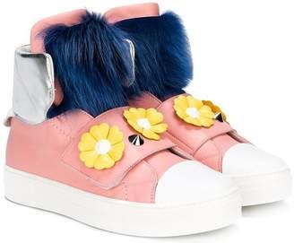 Fendi faux fur and floral apliqué hi-top sneakers
