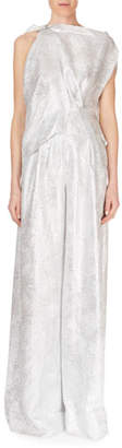 Roland Mouret Ebsen Drape-Top Full-Leg Metallic Jumpsuit