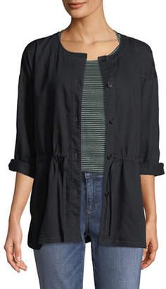 Eileen Fisher Round-Neck Organic Cotton Twill Shirttail Jacket
