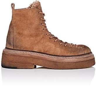 Marsèll Women's Shearling-Lined Suede Hiker Boots - Beige, Tan