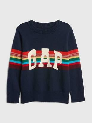 Gap Crazy Stripe Logo Sweater
