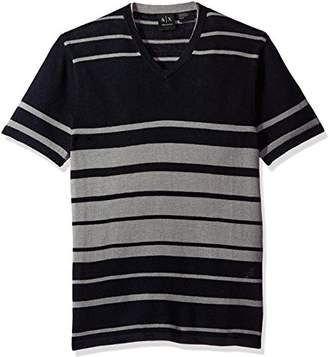 Armani Exchange A|X Men's Linen Blend Short Sleeve Stripe Knit