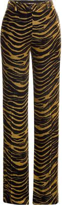 Roberto Cavalli Velvet Wide Leg Animal Print Pants