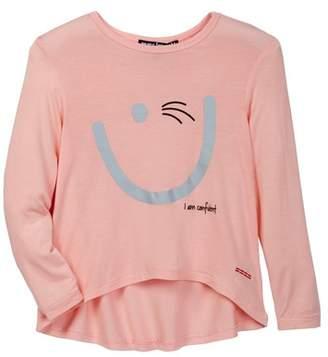 Peace Love World Smiley Face Long Sleeve HI-Lo Shirt (Big Girls)