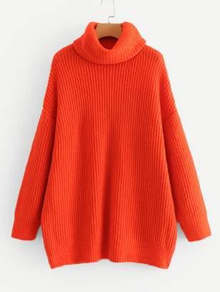 Shein Neon Orange High Neck Solid Sweater