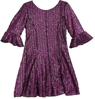 Zoe Viv Boucle Knit Fir-and-Flare Bell-Sleeve Dress, Size 7-16