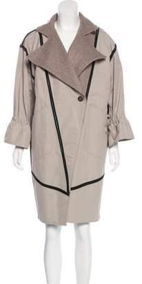 Fendi Leather-Trimmed Notch-Lapel Coat