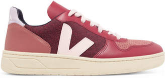 Veja V-10 Leather, Suede And Tweed Sneakers - Pink