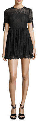 Romeo & Juliet Couture Illusion-Yoke Lace Fit & Flare Dress