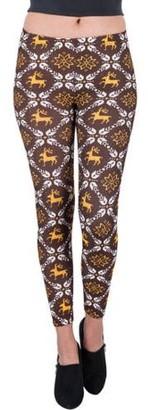 Aerusi Women's Reindeer Design Full Length Stretchy Leggings