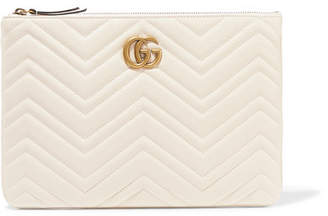 Gucci Marmont Quilted Leather Pouch - White
