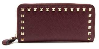 Valentino Rockstud Leather Continental Wallet - Womens - Burgundy