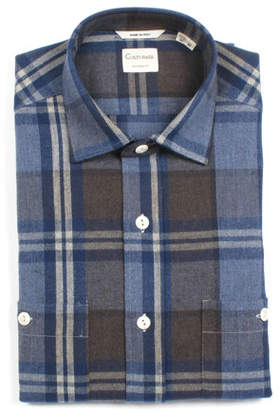 Culturata Men's Tailored Fit Large Plaid Dress Shirt with Pockets