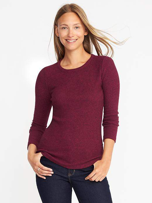 Plush Rib-Knit Sweater for Women
