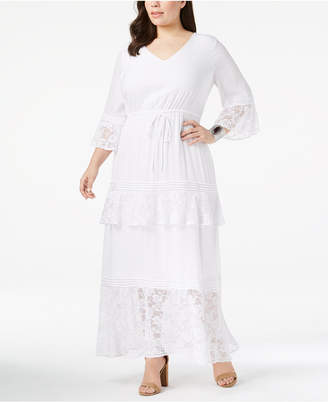 NY Collection Plus Size Tiered Peasant Maxi Dress