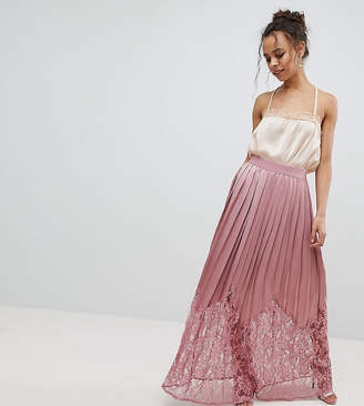 Little Mistress Petite Lace Pleated Maxi Skirt