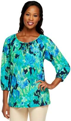 Susan Graver Liquid Knit 3/4 Sleeve Printed Peasant Top