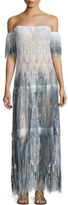 Queen & Pawn Comino Ombré Lace Maxi Coverup Dress, Blue $299 thestylecure.com