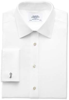 Charles Tyrwhitt Classic Fit Non-Iron Imperial Weave White Cotton Dress Shirt Single Cuff Size 16/33