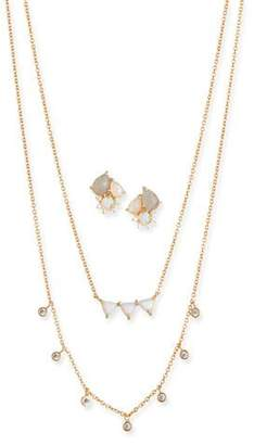 Tai Cubic Zirconia Opal Earrings & Necklace Set