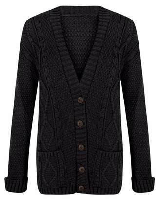 mix_lot MIXLOT New Women Everyday Long Sleeve Button Top Ladies Chunky Cable Knit Granddad Cardigan