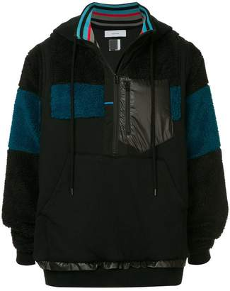 Facetasm color blocked rib trim hooded jacket