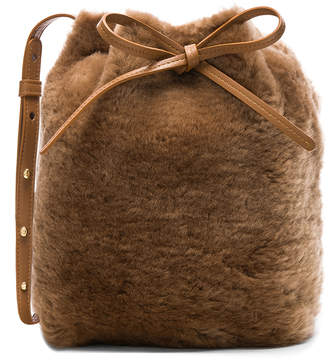 Mansur Gavriel Shearling Mini Bucket Bag in Camel | FWRD