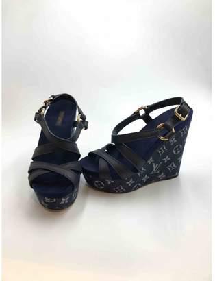 Louis Vuitton Blue Cloth Sandals