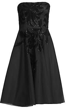 Aidan Mattox Women's Strapless Velvet Floral Tea-Length Dress