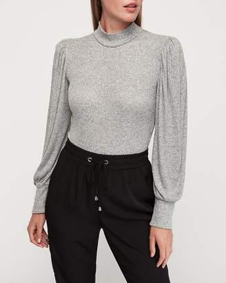 Express Soft Ribbed Puff Shoulder Blouson Sleeve Thong Bodysuit