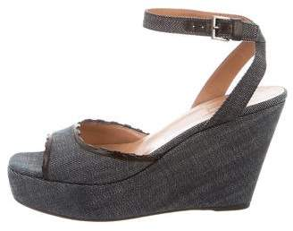 Alaia Denim Wedge Sandals