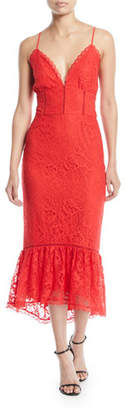 Lovers And Friends Evening Bloom Lace Flounce Midi Dress