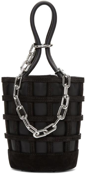 Alexander Wang Black Mini Roxy Cage Bucket Bag