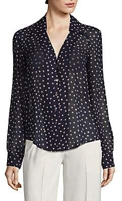 Derek Lam Women's Long-Sleeve Polka Dot Button-Down Silk Shirt
