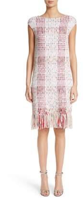 St. John Ribbon Macro Plaid Knit Dress