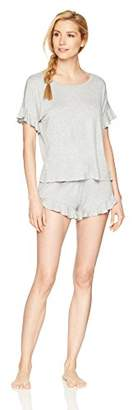 Mae Women s Sleepwear Ruffled Sleeve Shirt and Short Pajama Set 8016a5a06