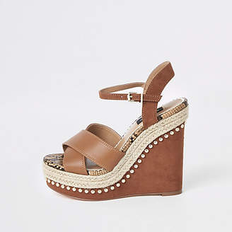 River Island Womens Light Brown studded Wide fit wedges 9e47129eb1a9